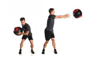 メディシンボールの回旋動作の投球