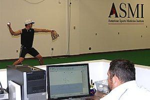 モーションキャプチャーによるピッチャーの投球動作の測定の様子